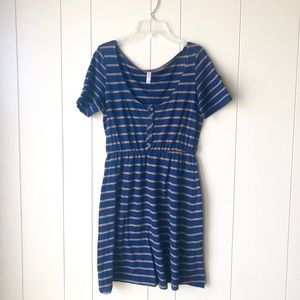 Casual Striped Buttoned Dress